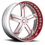 FORGIATO LINEE White/Red Center, Chrome Lip
