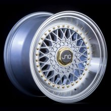 JNC004S Silver Machined Lip Gold Rivets