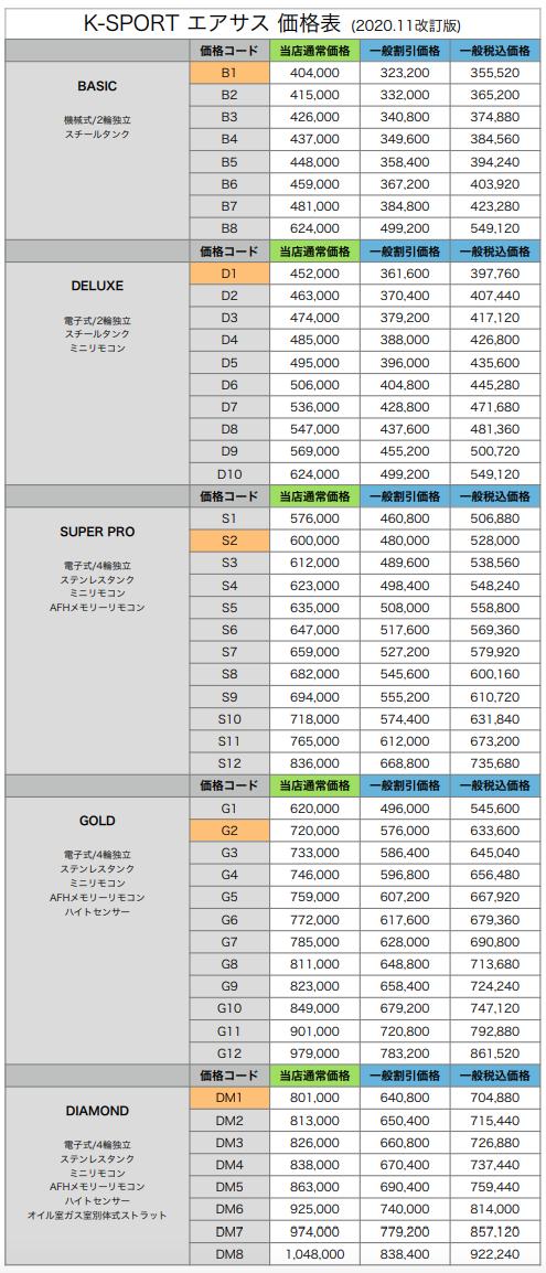 K-SPORT エアサス 価格表
